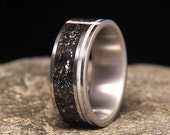 Meteorite Shavings Wide Offset Aqua Glow Pinstripe Inlay Titanium Wedding Band or Ring
