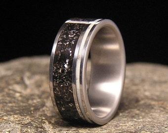 Meteorite Shavings Wide Offset Aqua Glow Pinstripe Inlay Titanium Wedding Band or Ring