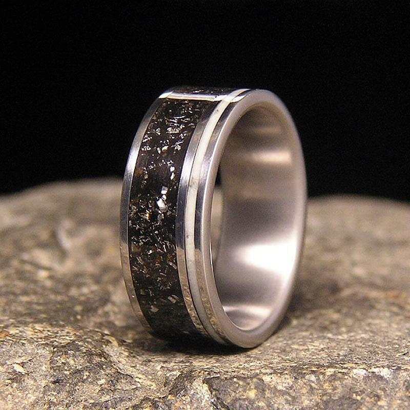 meteorite shavings wide offset aqua glow pinstripe inlay titanium wedding band or ring - Meteorite Wedding Ring
