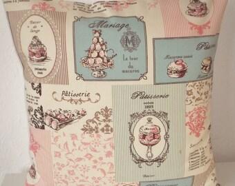 "Pretty PATISSERIE fabric cushion cover, pillow cover, 16"" x 16"" (41cm x 41cm)"