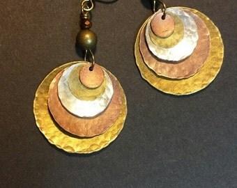Hammered Metal Earrings, Hammered Metal Dangle Earrings
