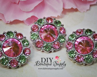 Pink and Green Rhinestone Buttons 21 mm Pink Green Crystal Buttons Acrylic Buttons Scrapbooking Embellishments Flower Centers 21mm 832035