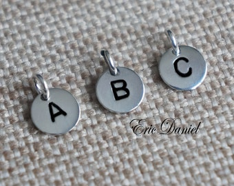 Add 8mm Sterling Silver Hand Stamped and Blackened Initial Discs to Your Order
