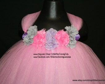 Pink Tutu Dress with Pink & Silver Flowers, Pink Flower Girl Tutu Dress, Pink Tutu Dress, Pink Tutu Birthday Dress