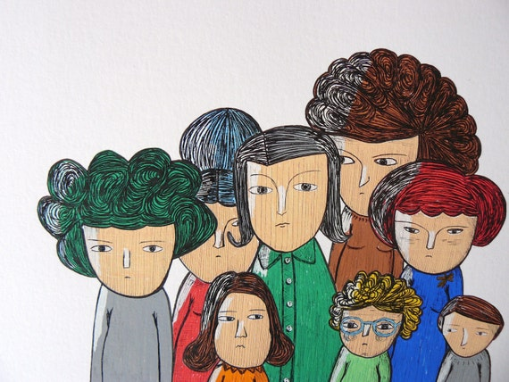 Family Portrait in Posca and ink