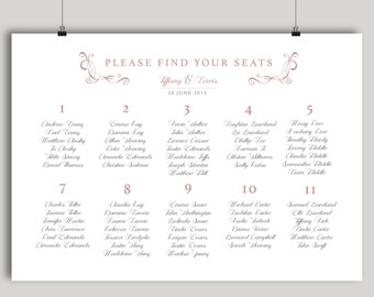 Printable Seating Chart Traditional Calligraphy Pretty Blush Plan Arrangements Wedding Dinner