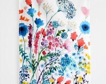 Tea Towel, Summer Meadow, Kitchen Towel, Floral Tea Towel, Linen Tea Towel, Cotton Kitchen Towel, Floral Kitchen Towel, Watercolor Tea Towel