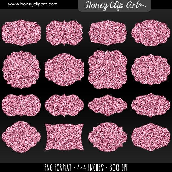Digital Pink Glitter Label Clip Art Printable Pink Sparkle