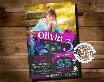 FROZEN PRINTABLE INVITATION, Custom Frozen Invitation For Girls Birthday Party, Frozen Party Decor, Photo Invitation, Pink Frosting Paperie