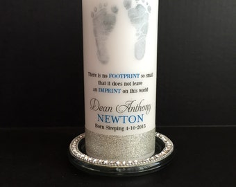 Footprint baby memorial candle, personalized candle, born sleeping candle, angel baby candle, memorial candle
