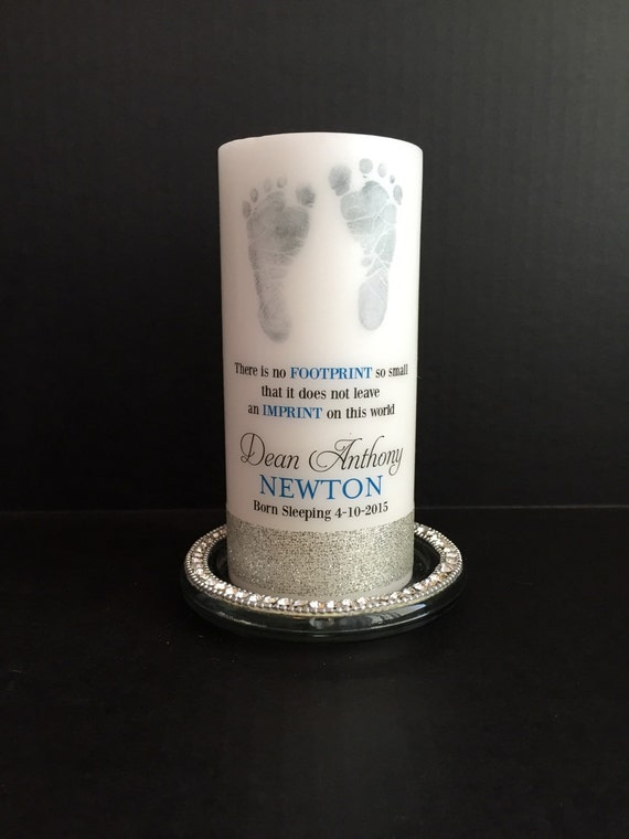 Footprint Baby Memorial Candle Personalized Candle Born