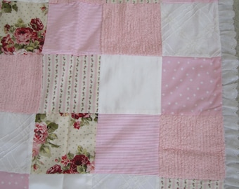 Shabby Chic Baby Girl Blanket Quilt- Pink and white Shabby Chic Baby Blanket for Newborn Baby or Shower (Crib Quilt or Blanket, Newborn Baby