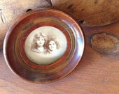 Antique Round Wooden Photo Frame Old Sepia Photograph Sisters
