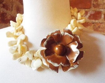 OOAK Tan Coral Statement Necklace with Brown Vintage Flower Brooch