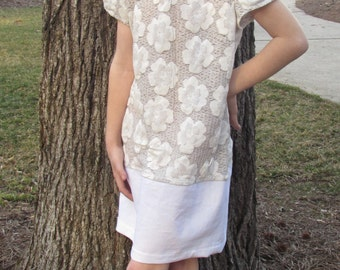 Girls Dress in Taupe and White
