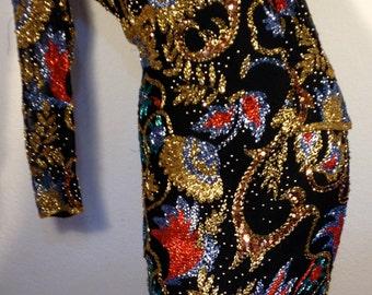 FREE SHIPPING   A J Bari  Beaded Sequin Dress