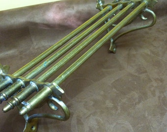 Vintage Pullman Brass Train Rack Towel Bar Shelf