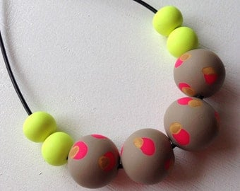 Polymer clay necklace, Hot pink/wasabi