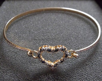 Heart bracelet with oynx stones, Gold plated over 925 Sterling silver