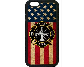 Case Cover for iPhone 4 4s 5 5s  5C 6 6s 6 Plus 7 7 Plus iPod Touch 4 5 6 case Cover Firefighter Fireman USA Flag Black