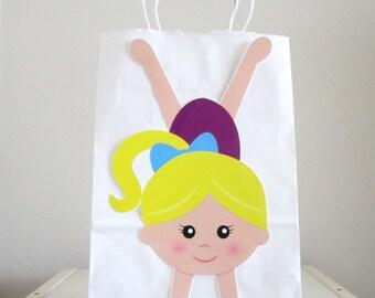 Gymnastics Goody Bags, Gymnastics Favor Bags, Gymnastics Party Favor, Goody, Gift Bags - Gymnastics Handstand (10216503P)