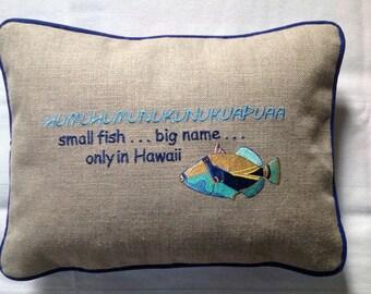 Hawaiian Humuhumunukunukuopuaa Machine Embroidered Pillow