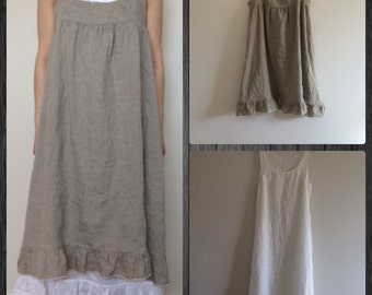 Layered Linen Dress - Natural - Off White - Misses Country