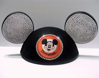 Swarovski Crystal Rhinestone Mickey Ears Hat Hand Embellished Blinged