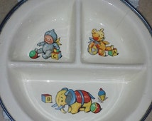 Antique Children's Warming Plate, Warming Plates, Sectioned Plates, Baby Feeding Plates, Child's Plates, Hot Plates, Kids Plate, Baby Plate