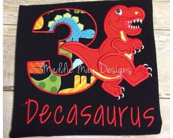 Boys dinosaur birthday shirt - appliqued and monogrammed