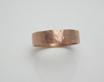 Rose Gold Wedding Band Hammered 14K Recycled Gold Modern Eco Friendly