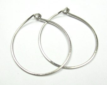 14K Solid White Gold Hoop Earrings|Recycled White Gold| Ethical| Eco Friendly