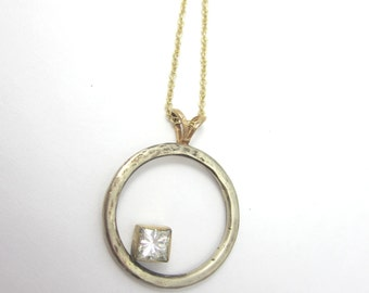 Gold Circle Necklace|Eternity Pendant| Forever Brilliant Moissanite| Recycled 14K White and Yellow Gold| Ethical Jewelry