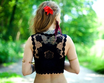 black crochet bolero