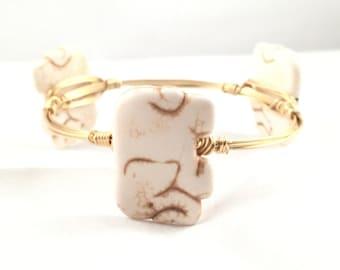 The Lucky Elephant Bauble || Howlite Cream Elephant Bauble Bracelet