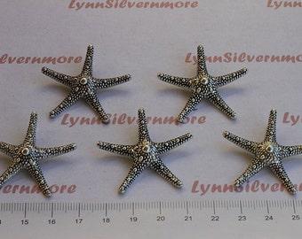 5 pcs  - 38 mm Medium Hammered Starfish Pendant Antique Silver Finish Lead Free Pewter