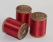 Silk Thread, Maroon Ruby Red Pure Silk, Size A Spool Wood 50 Yards 338, Vintage J&P Coats
