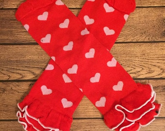 Red and white hearts ruffle legwarmers