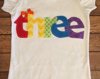 "Rainbow 3rd Birthday ""Three"" Shirt or Baby Bodysuit"