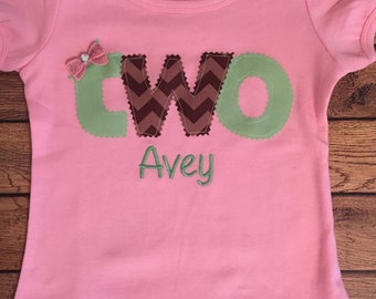 Pink, Brown, and Sage Green Birthday Shirt or Baby Bodysuit With Name Embroidery