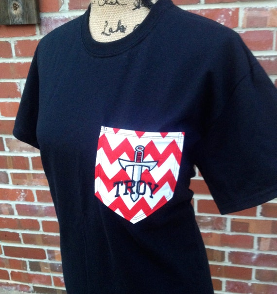 Custom troy university pocket t shirt by southernstitches956 for Custom t shirt with pocket