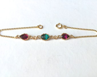 Triple gemstone bracelet, gold chain bracelet, gold stacking bracelet, charm bracelet,  bracelet, rhodolite, green topaz, colorful bracelet