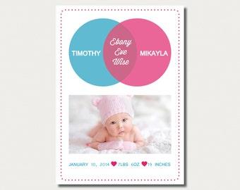 Birth Announcement - Custom Made - Venn Diagram