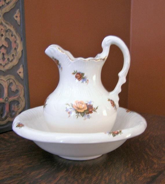 ceramic bowl and pitcher set. Black Bedroom Furniture Sets. Home Design Ideas