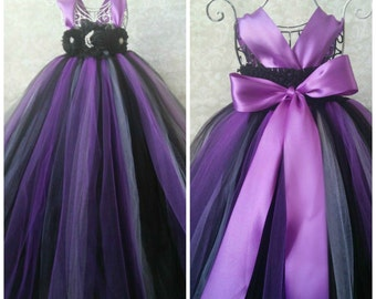 Purple Black Flower Girl Dress