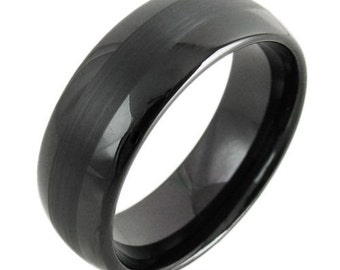 8MM Tungsten Carbide Mens Black Wedding Band Ring (Available Sizes 7-14 Including Half Sizes)