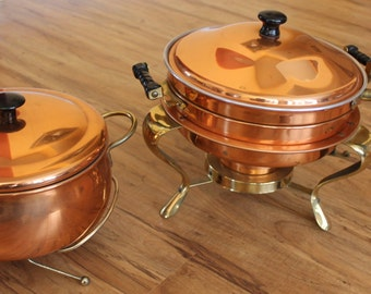 Complete Copper/Brass Chafing Warming Dish   ( 5 pieces ) and pot ( 3 pieces)