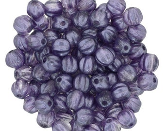 COATED SATIN LAVENDER Melon Beads, Czech Glass Beads, Round Carved Melons 5mm Strand 50 Beads
