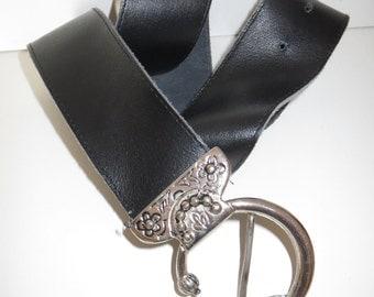 Vintage belt leather Black Silver retro Gr. 75