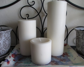 Round Soy Pillar Candle Set